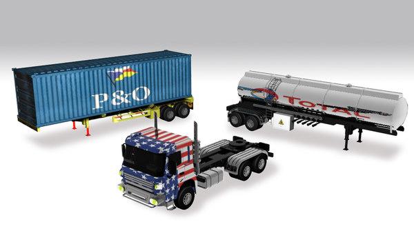trailer pack truck 3D model