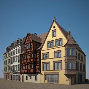 houses medieval stone model