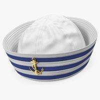 navy sailor hat 3D model