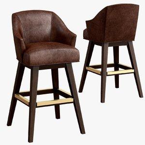 leather swivel bar stool 3D model