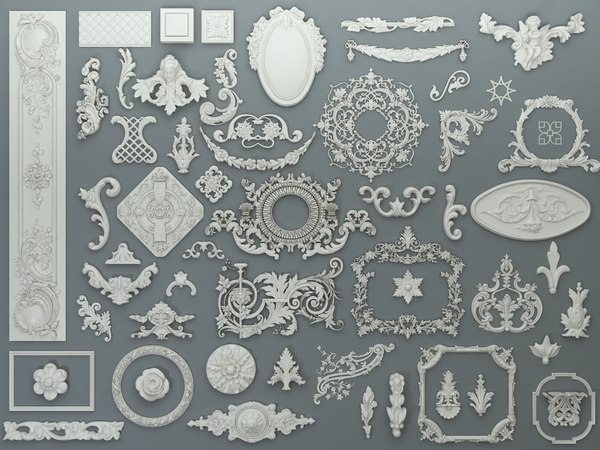 58 piece carved elements 3D model
