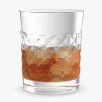 3D glass ice whiskey