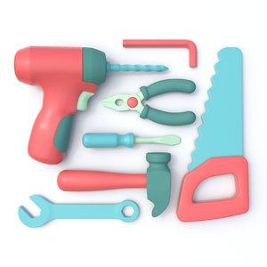stylized tool set 3D