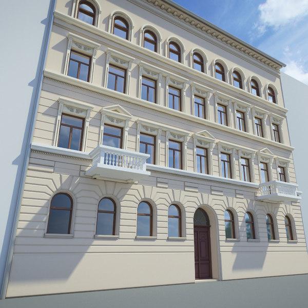 3D model european building facade