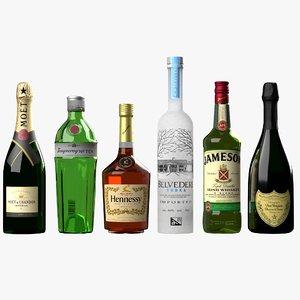 3D bottles pbr realistic model