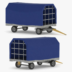 covered airport trailer 3D model