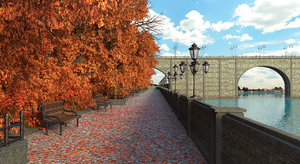 tree autumn street 3D model