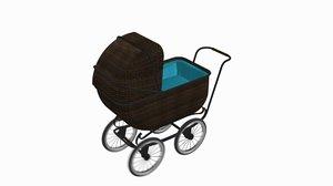 victorian era baby buggy 3D model