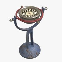 3D nautical gyro compass model