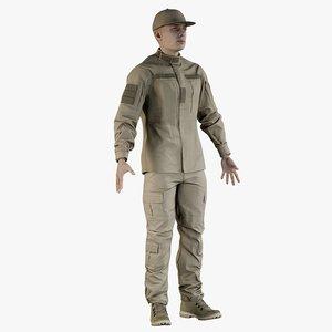 3D realistic soldier andrew uniform model
