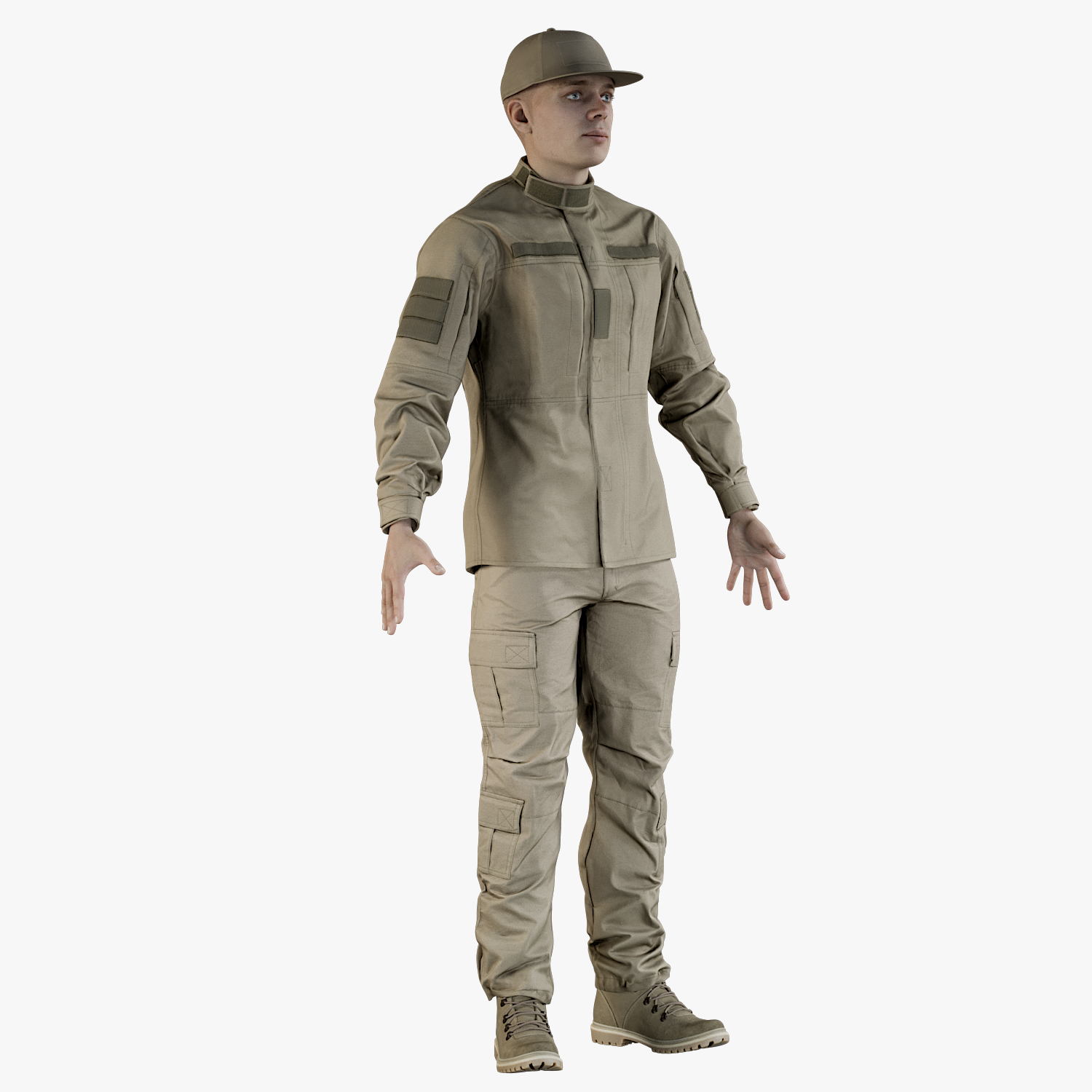 3D realistic soldier andrew uniform model