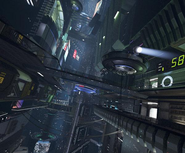 3D model night city future