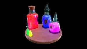 3D model fantasy potion set