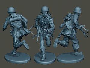 3D german soldier ww2 running