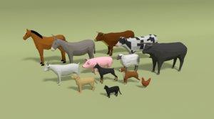 3D domestic animals cartoon