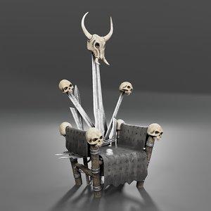 3D model throne viking leader runes