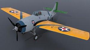 3D model f4f-3 wildcat - grumman