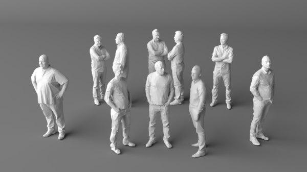 3D 10 people crowds