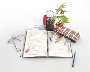 3D school stationery model