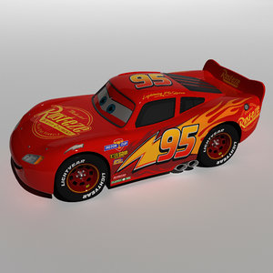 cartoon character lightning mcqueen 3D model