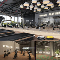 3D fitness center gym model