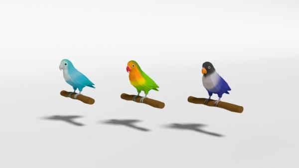 lovebirds birds 3D model