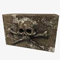 carved skull stone 3d 3ds