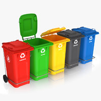 3D colorful recycle bins