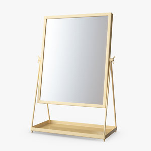 3D gold standing table mirror model