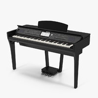 professional digital piano black 3D