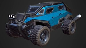 sci-fi armored racing jeep 3D model