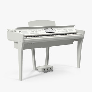 3D white professional digital piano model