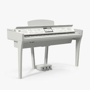 3D white professional digital piano model