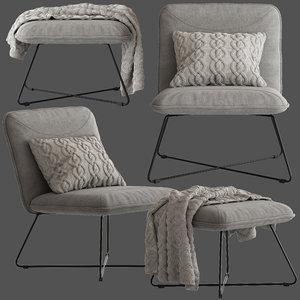 3D yolanda lounge chair ottoman model