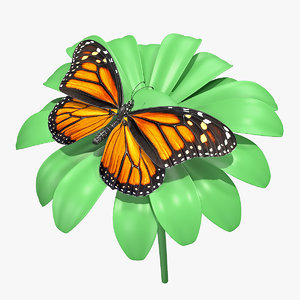 3D monarch butterfly takes swinging