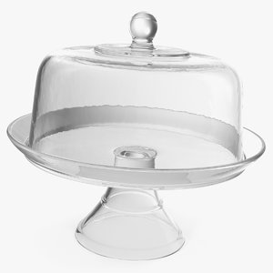 3D glass cake stand dome