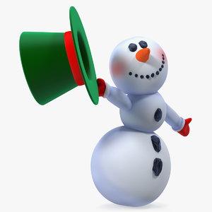 cartoon snowman snow rigged 3D