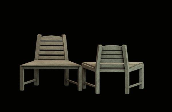 3D model wooden seat