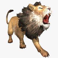 3D male lion animal
