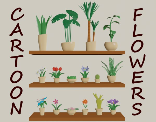 cartoon flowers pots 3D model