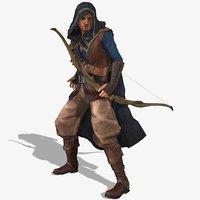 3D blaze assassin character rigged