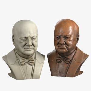 3d decorative bust winston churchill model