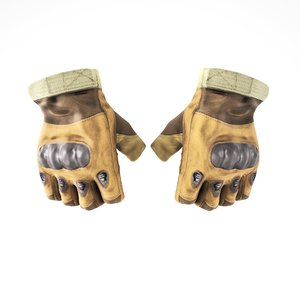 3D model half finger leather military