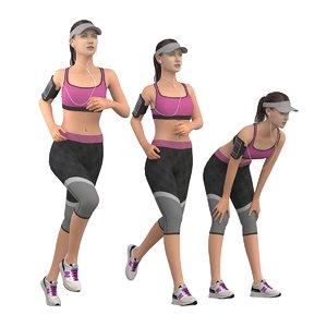 running jogging girl 3D