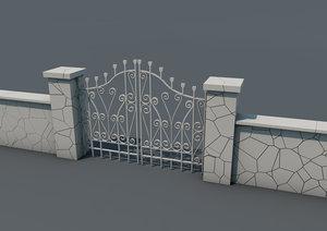 3D castle gate entrance