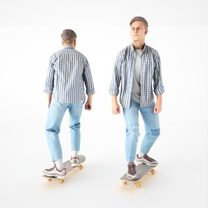 scanned young man skate 3D model