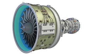 3D geared turbofan engine interior model