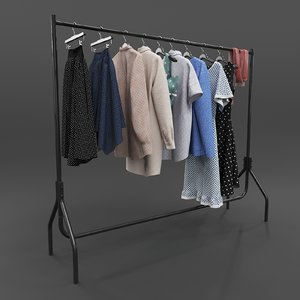 set casual clothes hanger 3D model