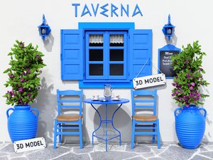 3D model greek terrace tavern