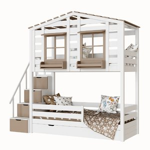 children s 2-level bed 3D